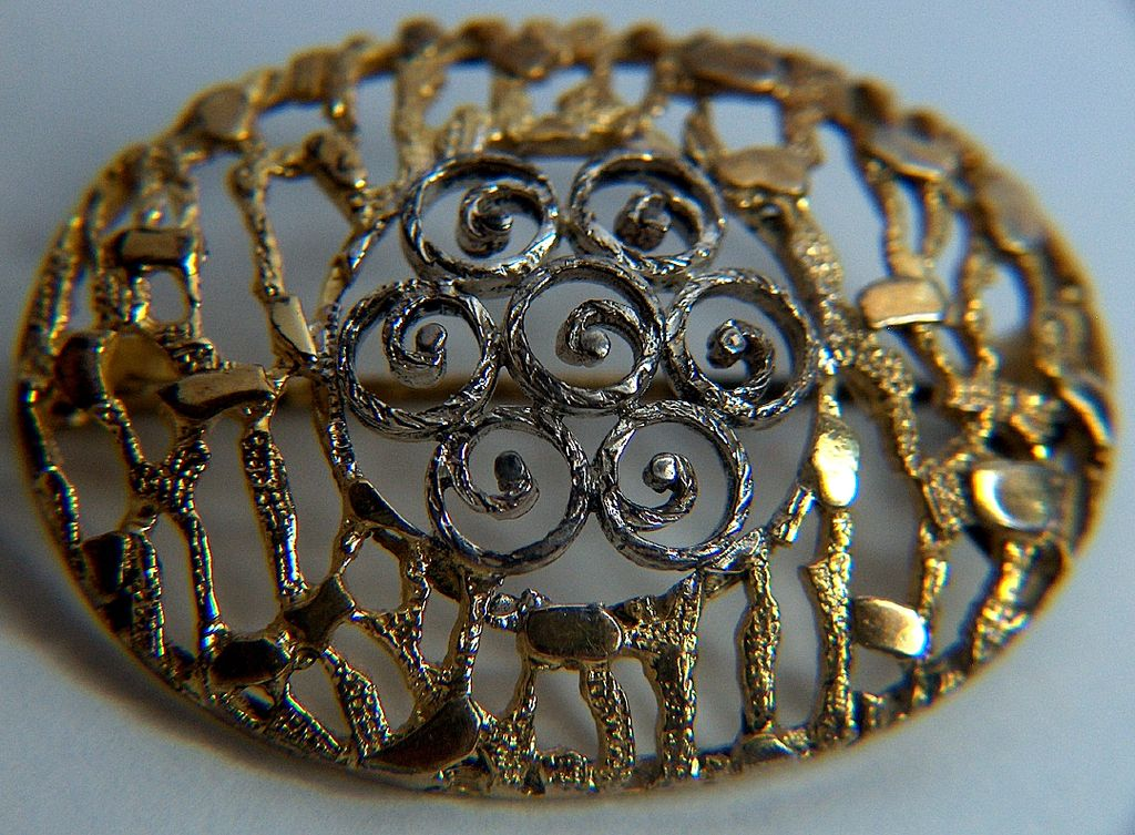 Vintage and Lovely signed Van Lou Sterling Open Work Filigree Pin Brooch ~ Germany