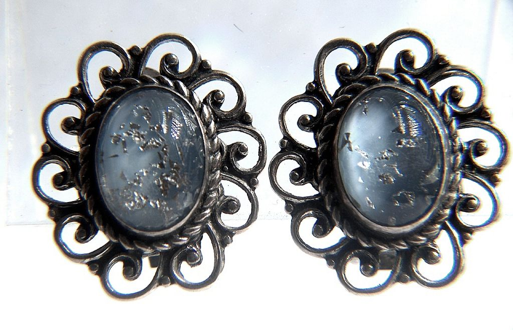 Vintage signed DANECRAFT STERLING Glass Glitter Cabs Clip Earrings