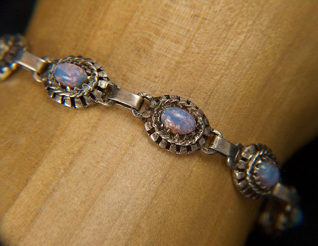 Vintage signed Sterling Silver Opal Glass Link Bracelet