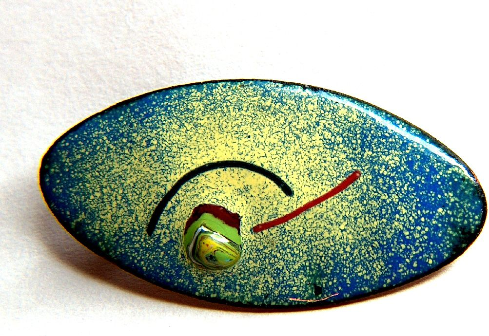 Vintage Modernist Enamel on Copper Multi-Color Brooch Pin