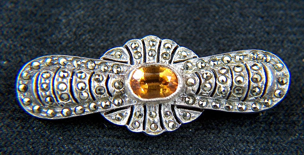 Vintage Art Deco Marcasite and Topaz Sterling Silver Brooch Pin