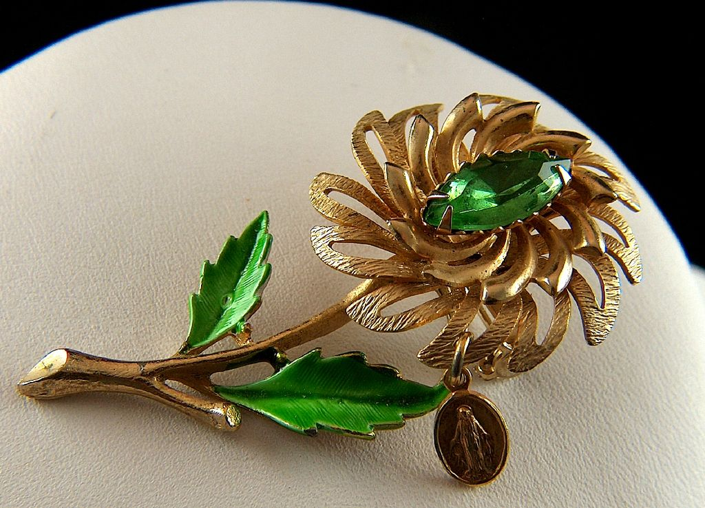 Vintage Flower with Dangling Immaculate Heart Medal Dangle Pin Brooch