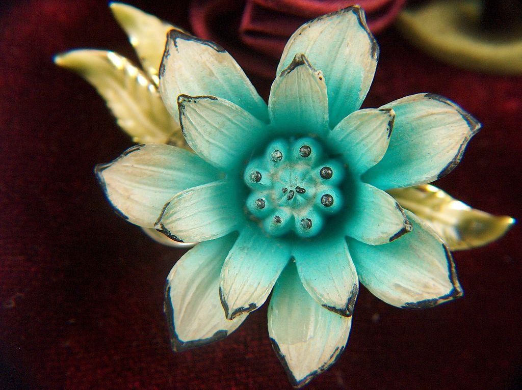 Vintage signed Coro Blue Plastic Flower Enamel Leaves Pin Brooch