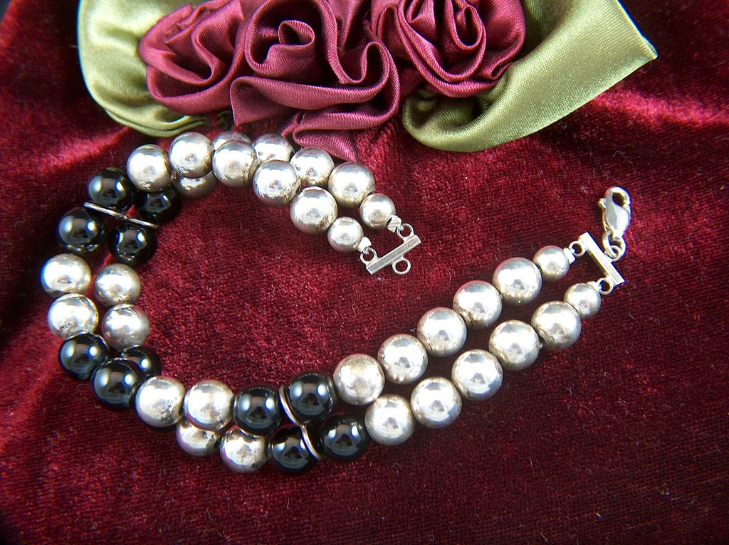 Vintage Two-Strand Sterling Silver and Onyx Bead Bracelet