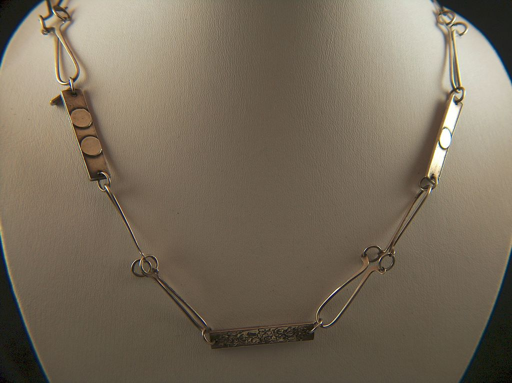 Vintage Sterling Silver Modernist Hand Made Links Necklace