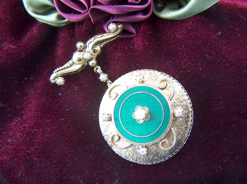 Vintage Bar Pin with Enamel and Faux Pearl Dangle Pendant