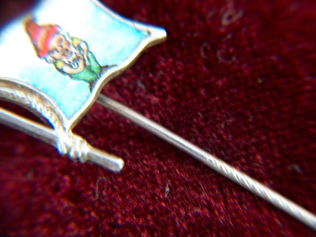 Vintage Sterling Silver Enamel Dwarf Flag Stick Pin