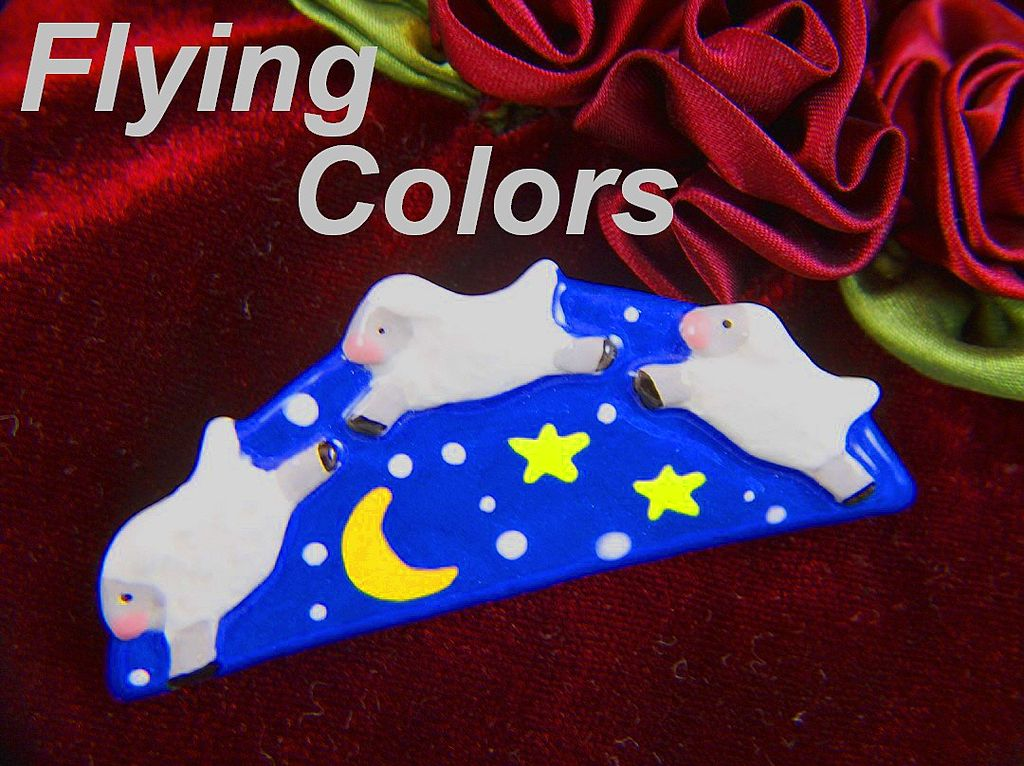 Vintage signed FLYING COLORS Leaping Sheep Pin Brooch ~ On Original Card