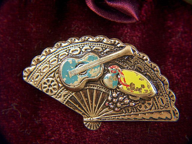 Vintage signed Spain Damascene Flamenco Instruments Pin Brooch ~ older and heavy