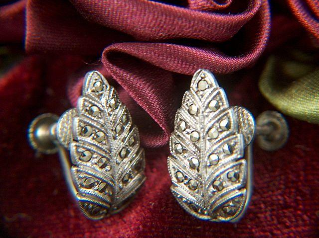 Vintage Sterling and Marcasite Screw Back Leaf Earrings