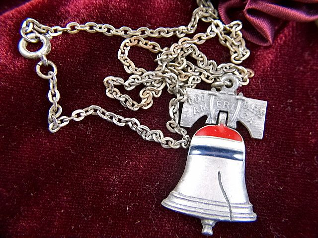 vintage designer signed ART  God Bless America Liberty Bell Enamel Pendant and Chain