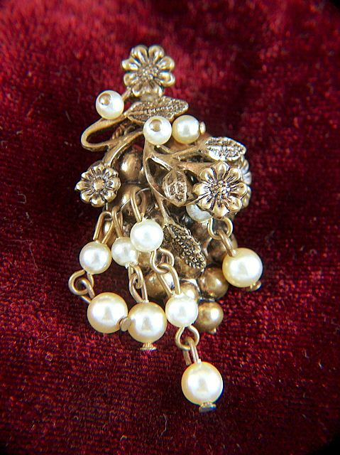 Vintage Brass and Faux Pearl Grape Cluster Pin Brooch