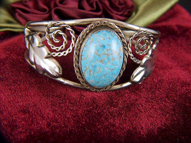 Vintage Sterling Silver Oval Glass Cab Cuff Bracelet