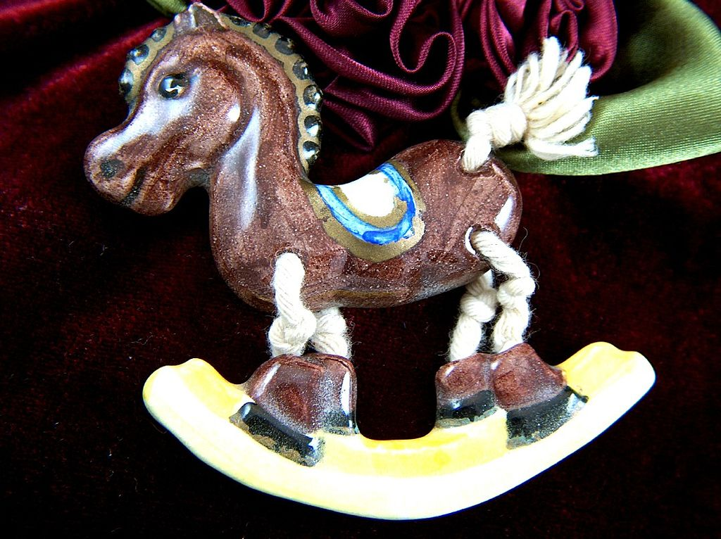 Vintage signed Echo Ceramic Rocking Horse with String Legs and Tail Pin Brooch