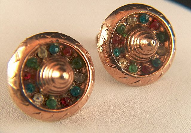 Vintage signed PK Copper Toned Mexican Sombrero Rhinestone Screw Back Earrings - Hat's off!