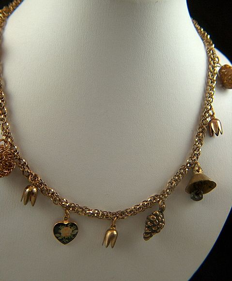 Vintage Gold Toned Charm Necklace ~ Assorted Charms Hearts and Flowers