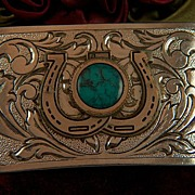 Vintage Silver Plated Double Horseshoe Faux Turquoise Belt Buckle