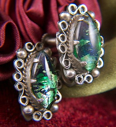 Vintage MEXICO SILVER Harlequin Opal Glass Cab Screw Back Earrings