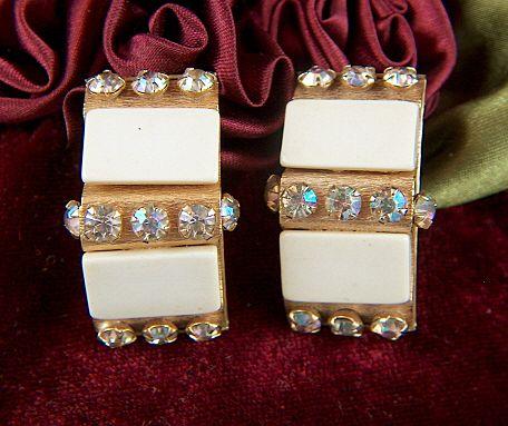 Vintage 1950s LERU Faux Ivory Aurora Borealis Rhinestone Clip Earrings