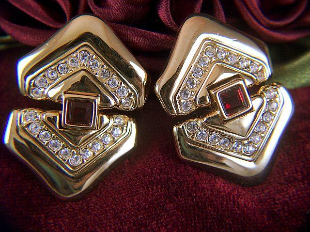 Vintage signed Swarovski Swan Logo Opulent Doorknocker Clip Earrings