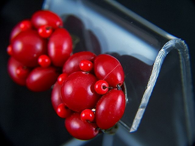 Vintage signed JAPAN Red Glass Cluster Clip Earrings
