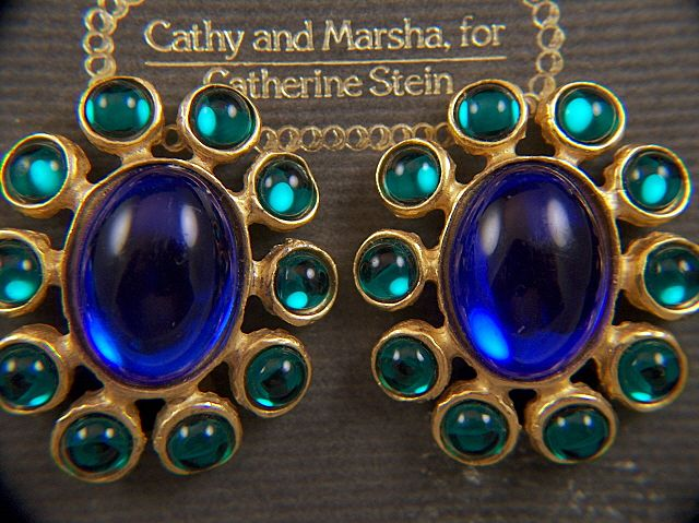 Vintage Cathy and Marsha for Catherine Stein Blue Green Moonglow Cabs Clip Earrings