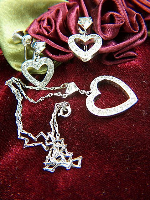 Vintage Sterling Silver Chain with Rhinestone Heart Pendant and Screw Back Earrings Set