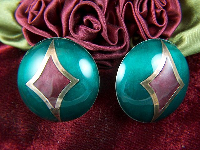 Vintage signed Large Enamel & Sterling Silver Dome Post Earrings with Omega Clips ~ Stunning!