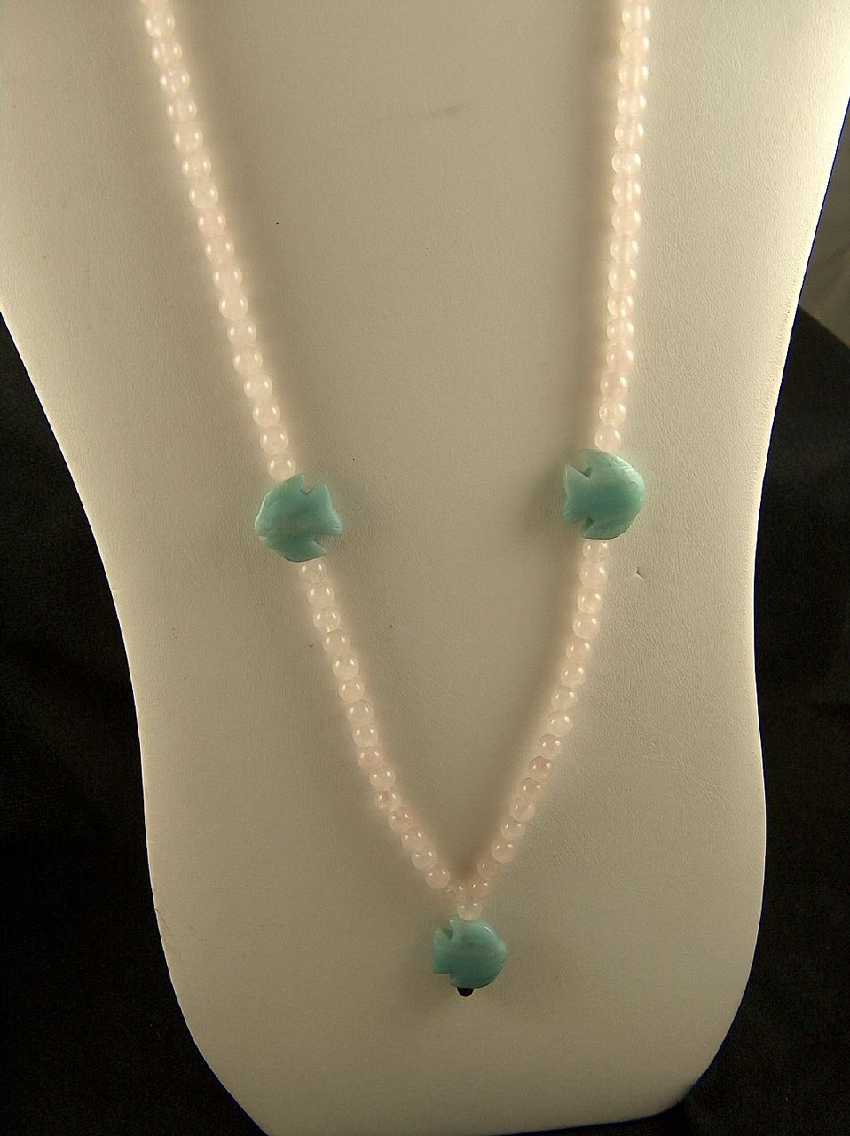 Vintage Stunning Rose Quartz Beads and Carved Amazonite Fish Necklace