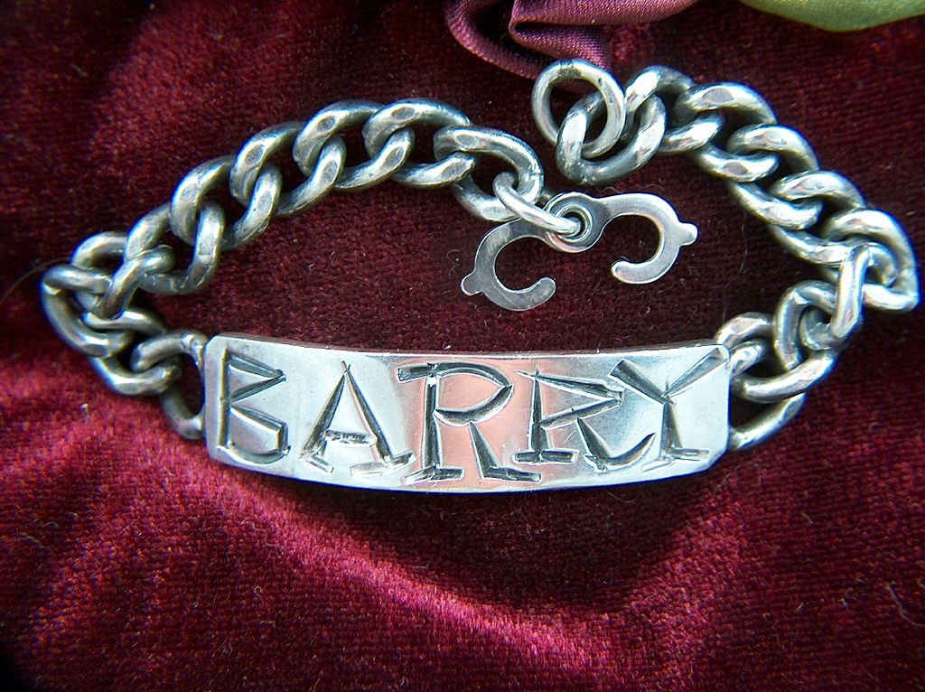 Vintage Sterling Silver 1960s ID Bracelet ~ Engraved BARRY