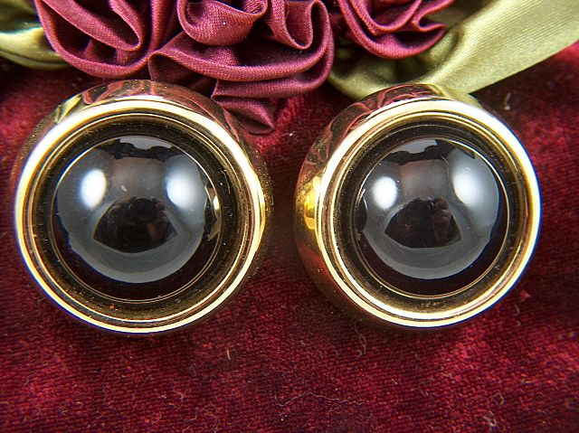 Vintage signed TRIFARI Large Black / Dark Ruby & Gold Toned Clip Earrings