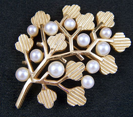 Vintage signed Crown Trifari Abstract Art Faux Pearl Leaf Pin Brooch
