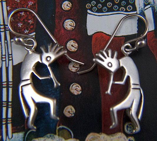 Vintage Sterling Silver Native American Hopi Kokopelli French Wire Earrings