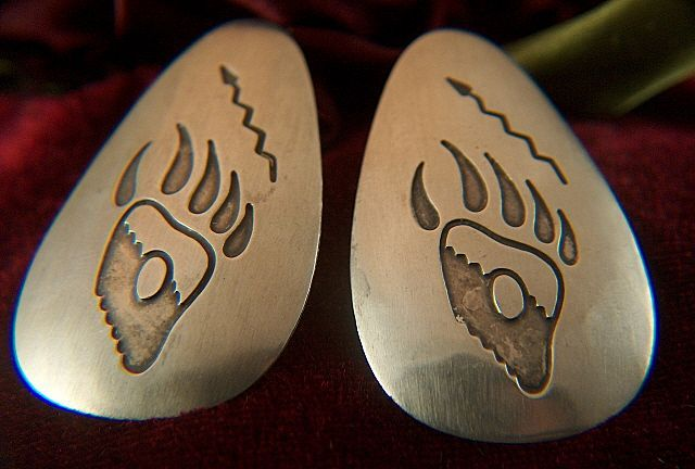 Vintage signed STERLING Native American Snake and Bear Claw Paw Print Post Earrings