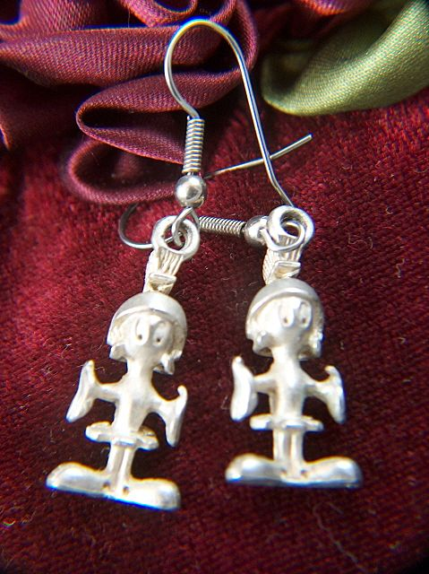 Vintage Marvin the Martian Pewter Charms on French Wire Earrings