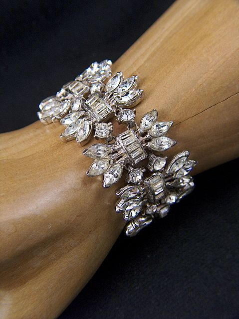 Vintage and Stunning ART DECO Wide Clear Rhinestone Bracelet ~ ca. 1920 -1930