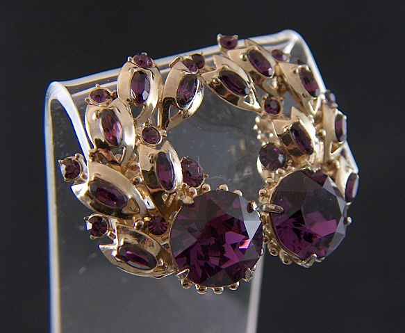 Vintage signed Hollycraft 1955 Large Paisley Shape Amethyst Rhinestone Earrings