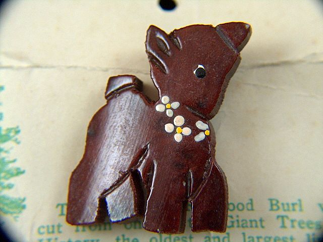 Vintage Genuine Redwood Burl Fawn Pin - On Original Card