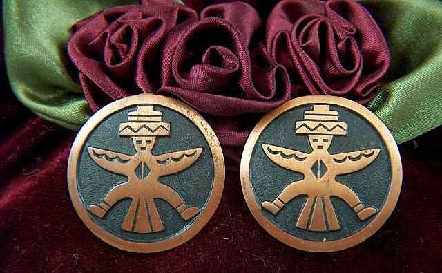 Vintage Oxidized Copper Zuni Knifewing Bird Man Symbol Clip Earrings