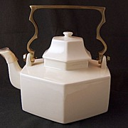 Vintage MIKASA Continental Ivory Large Covered Teapot with Solid Brass Handle ~ New In The Box!