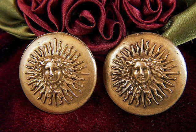 Vintage signed Edouard Rambaud Art Nouveau Style Sun Face Clip Earrings