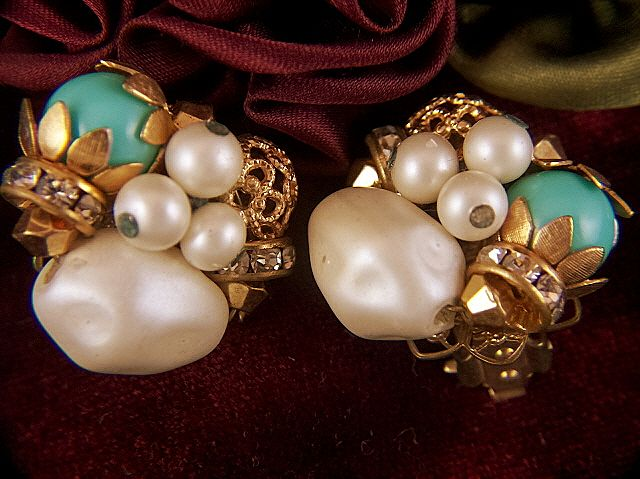 Vintage Cluster Clip Earrings ~ Faux Pearls, Turquoise Glass Beads and Rhinestones