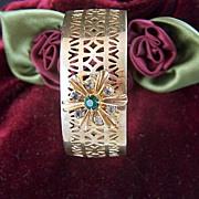 Vintage Wide Cutout Cuff Bracelet  -  Prong Set Rhinestone Flower