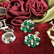Vintage Earrings Assortment ~ 3 Pair Screwbacks Rhinestones