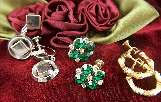 Vintage Earrings Assortment ~ 3 Pair Screwbacks Rhinestones