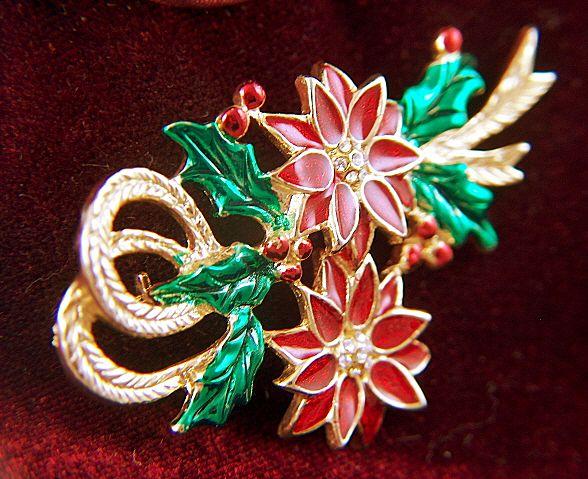 Vintage Sparkling Red Enamel Poinsettias Christmas Pin Brooch