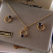 Vintage 14K Gold and 12K Gold Filled September Birthstone Necklace and Post Earrings Set