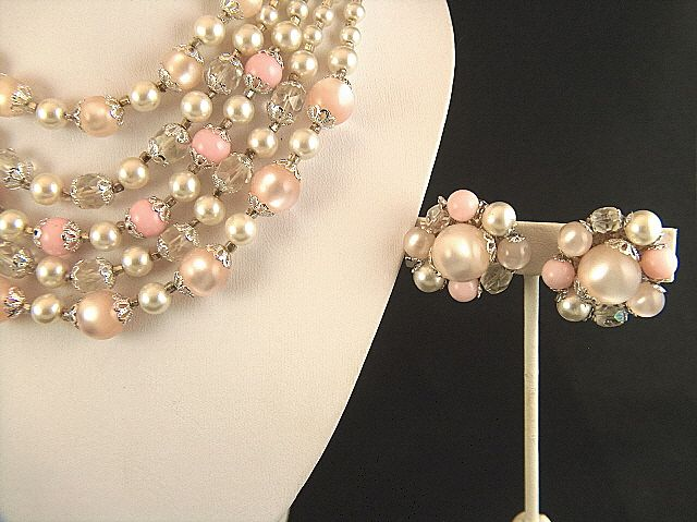 Vintage signed Japan 5-Strand Faux Pearls Lucite Cut Glass Beads Necklace and Clip Earrings Set - Demi Parure