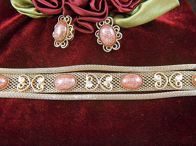 Vintage Goldstone Mesh Bracelet and Clip Earrings Set - Demi Parure