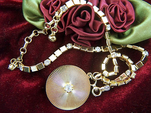 Vintage and Unusual Gold Toned and Rhinestone Necklace converts to Bracelet